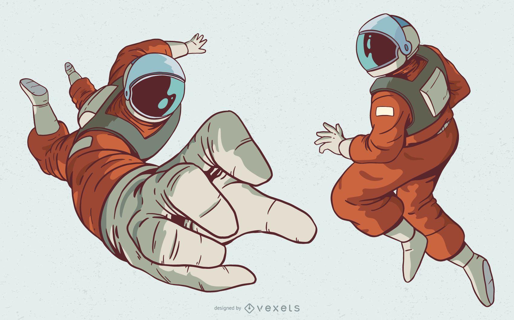 Conjunto de ilustración de personaje de hombre astronauta
