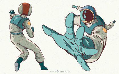 Conjunto de ilustração de personagem de mulher astronauta