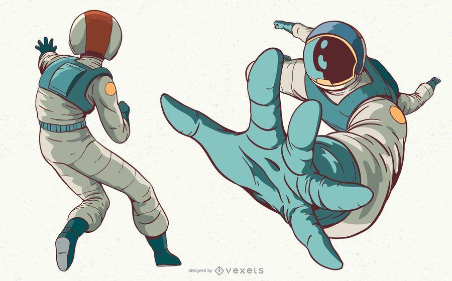 Astronaut woman character illustration set
