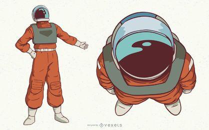 Conjunto de caracteres do astronauta espacial