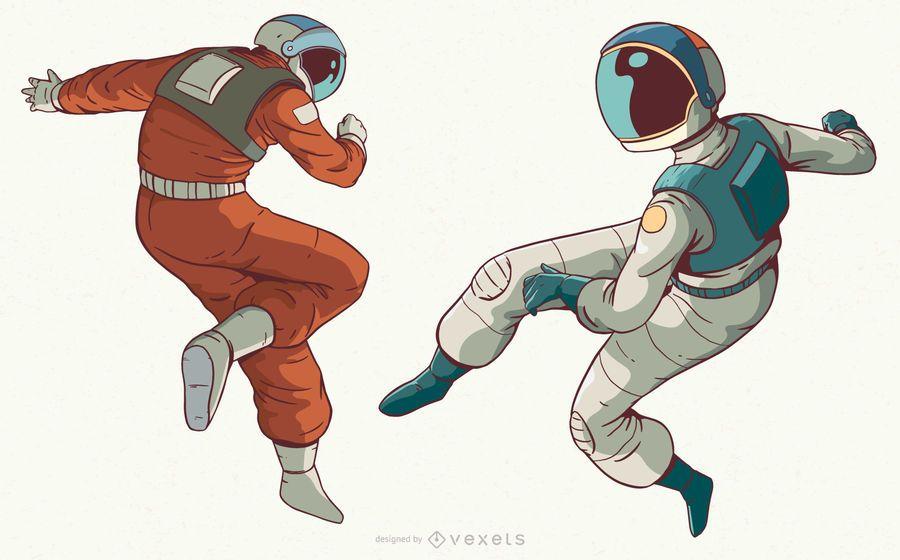 Cool astronaut character set