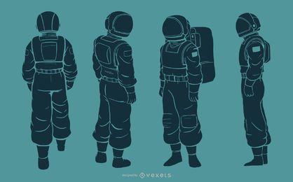 Astronaut man silhouette character set