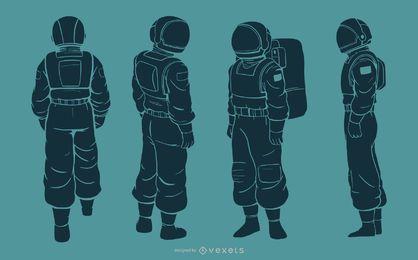 Astronauta homem silhueta conjunto de caracteres