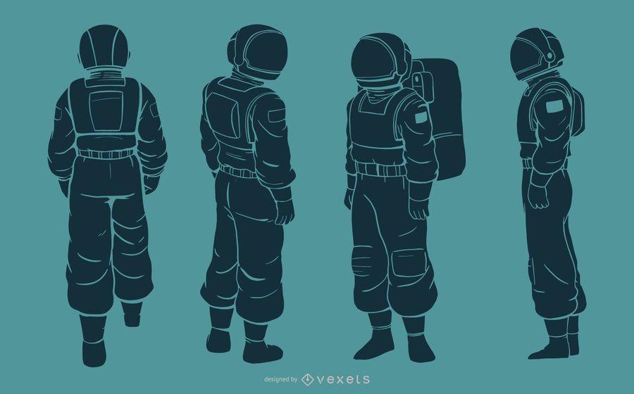 Conjunto de caracteres da silhueta do homem astronauta
