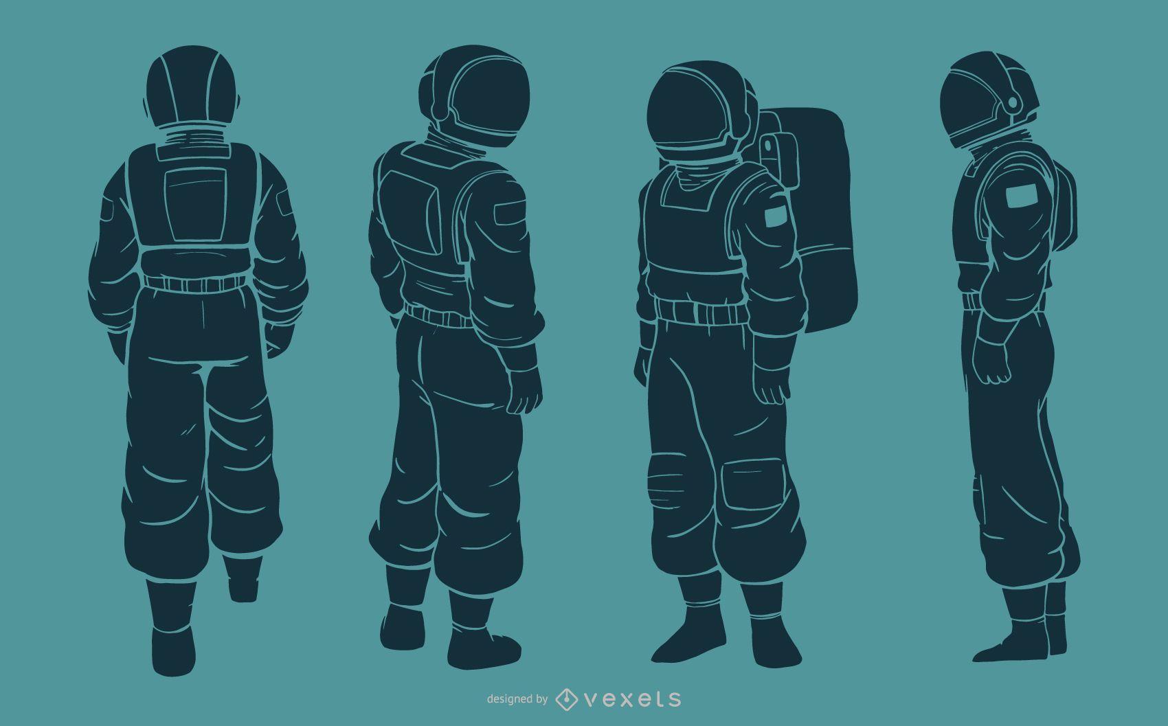 Conjunto de caracteres de silueta de hombre astronauta