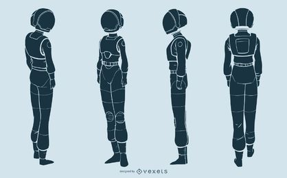 Astronaut woman silhouette character set