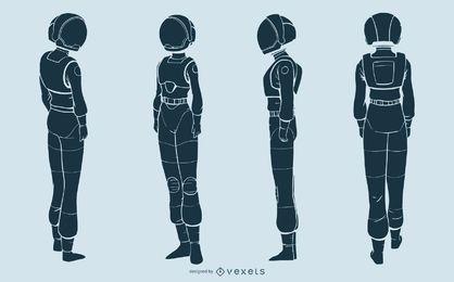 Conjunto de caracteres de silhueta de mulher astronauta