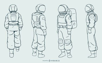 Astronaut man hand drawn set
