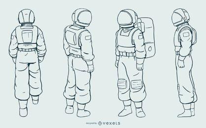 Astronauta homem mão desenhado conjunto