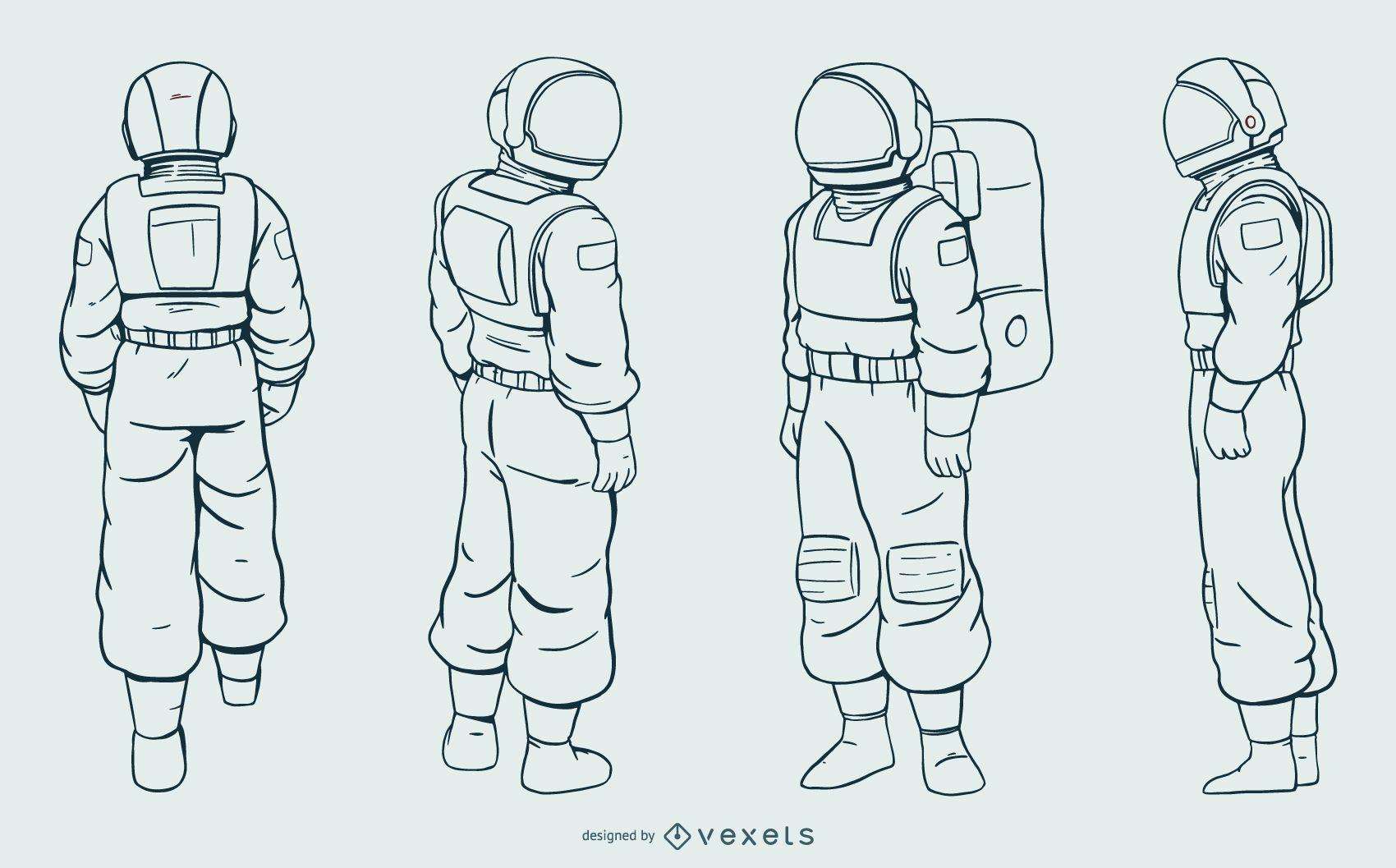 Astronaut man hand drawn set