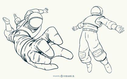 Conjunto de caracteres de astronauta desenhado à mão