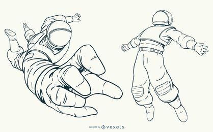 Hand drawn astronaut character set