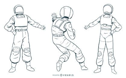 Pack de personajes de astronauta dibujados a mano