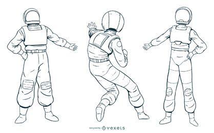 Pacote de personagens de astronauta desenhada de mão