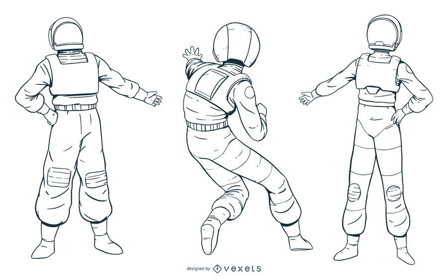 Hand drawn astronaut character pack