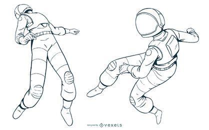 Conjunto de astronautas dibujados a mano