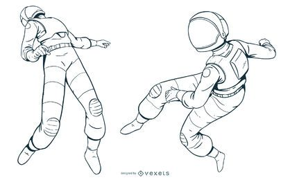 Hand drawn astronaut set