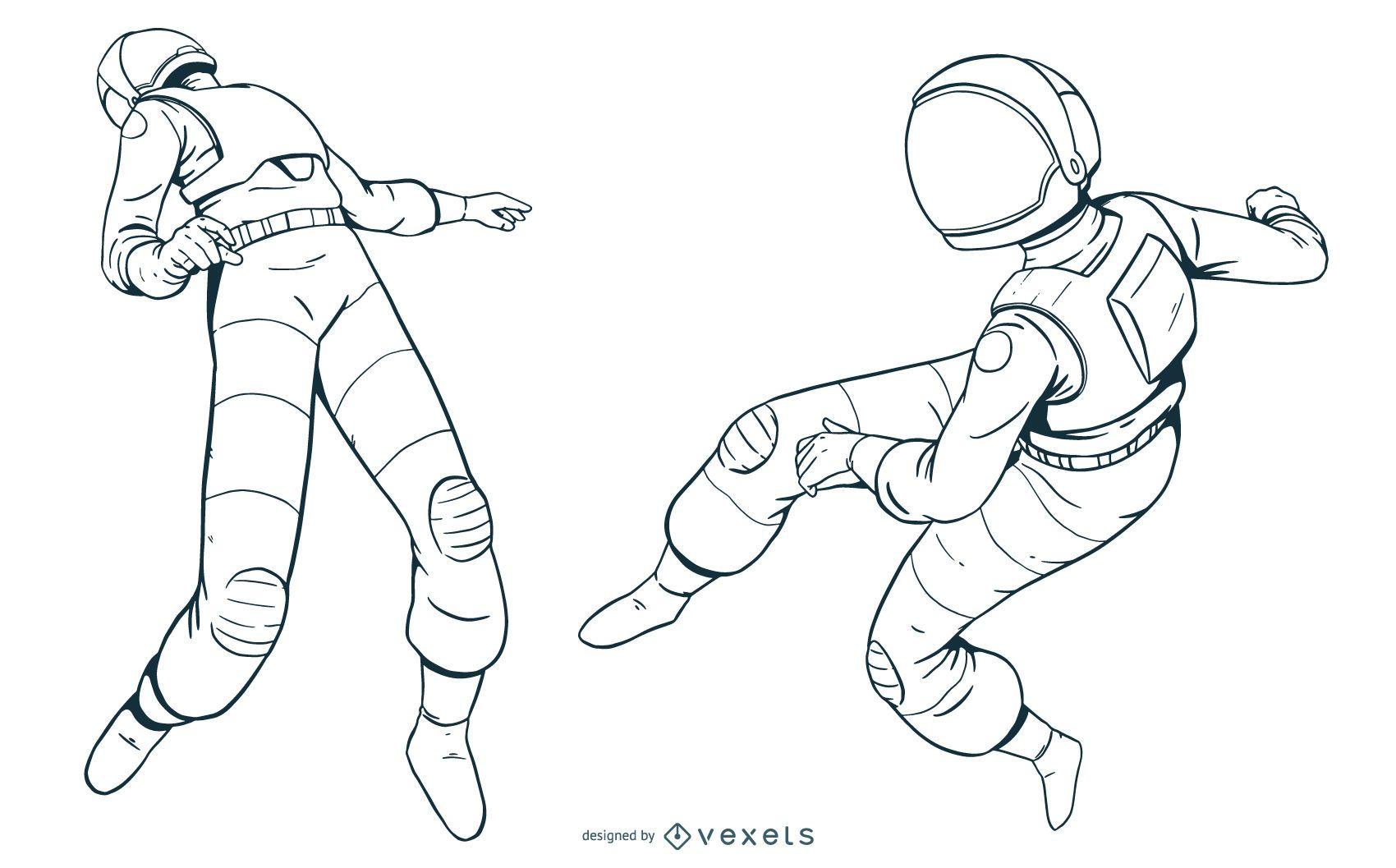 Hand drawn astronaut set