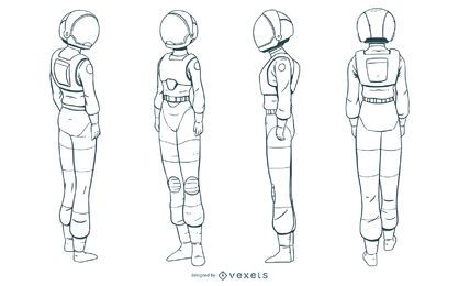 Astronaut woman hand drawn set