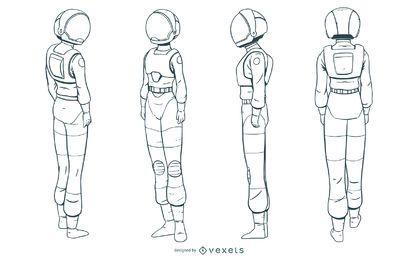 Conjunto de astronauta mujer dibujado a mano
