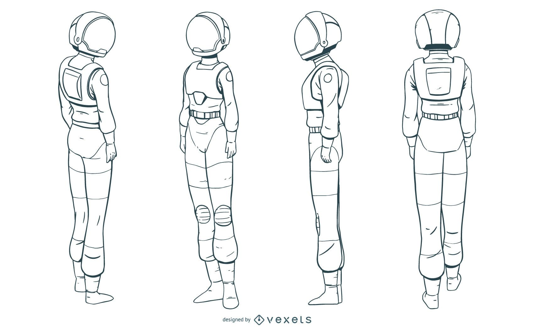 Astronaut woman hand drawn set