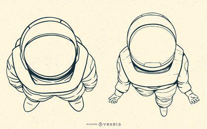 Conjunto de ilustrações desenhadas mão de astronauta