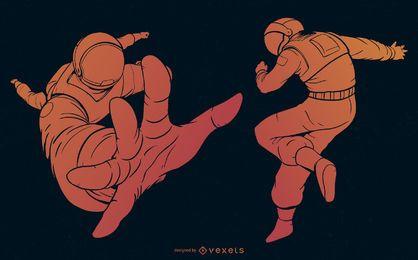 Conjunto de gradiente laranja de astronauta