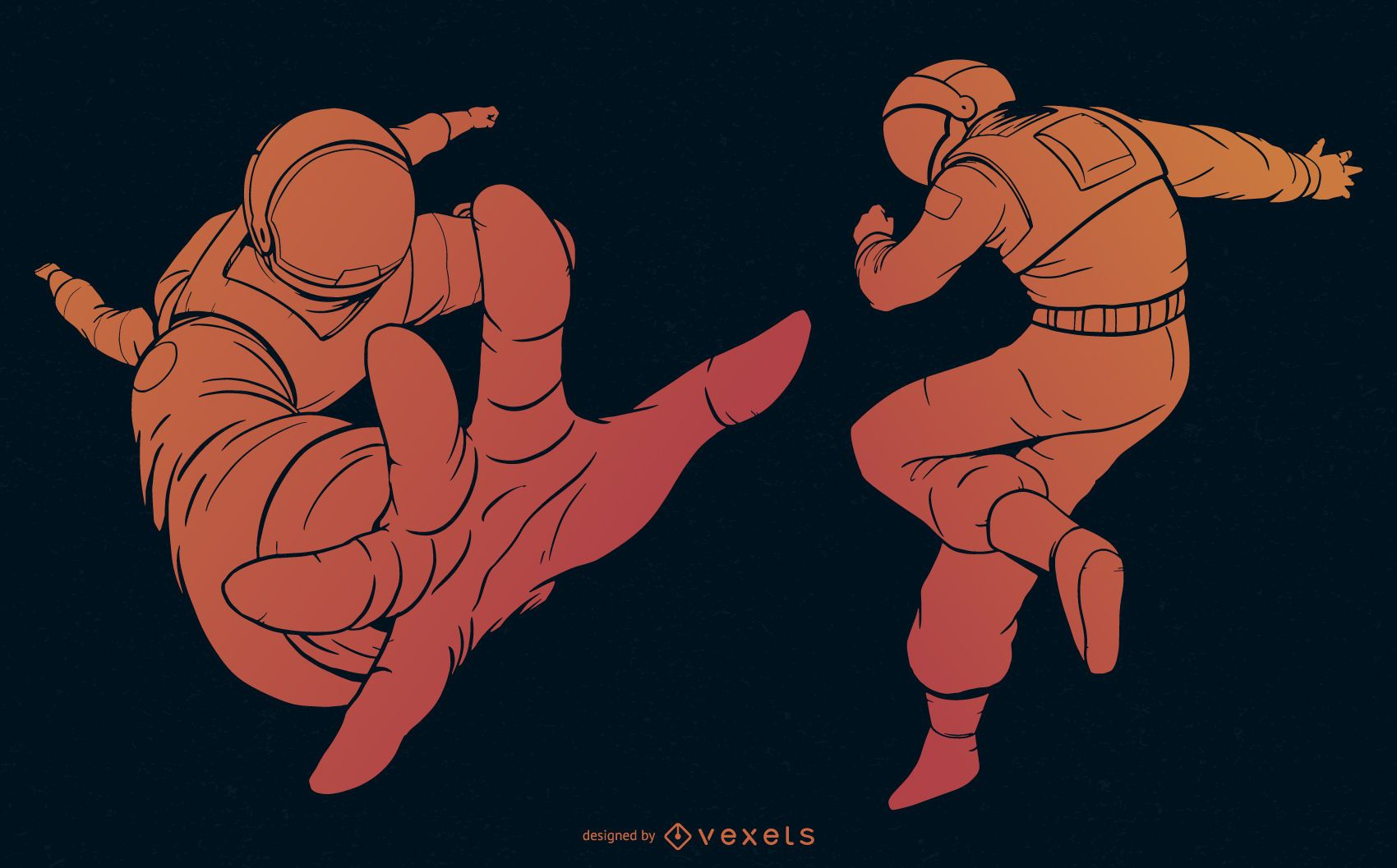 Conjunto de gradiente naranja astronauta