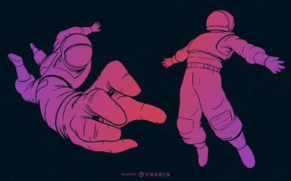 Conjunto gradiente roxo de astronauta