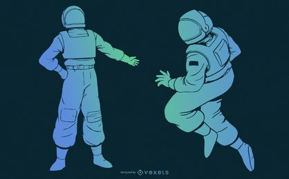 Astronaut gradient blue set