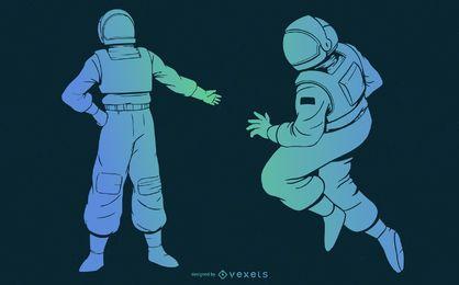 Conjunto azul degradado astronauta