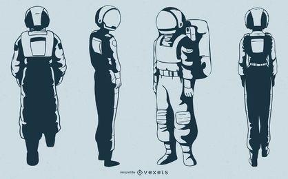Astronaut character vector set