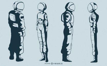 Conjunto de vectores de personajes de astronauta