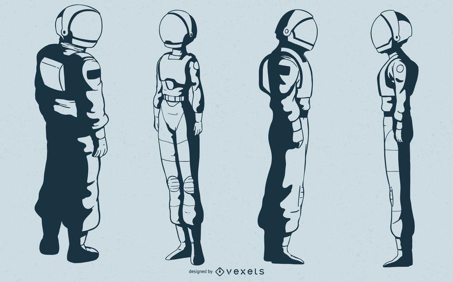 Conjunto de vectores de caracteres de astronauta