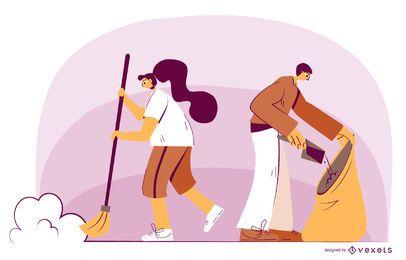 Personagens de limpeza ilustração