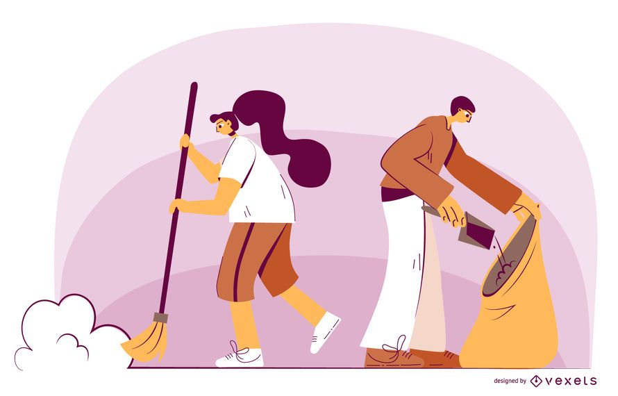 Characters cleaning illustration