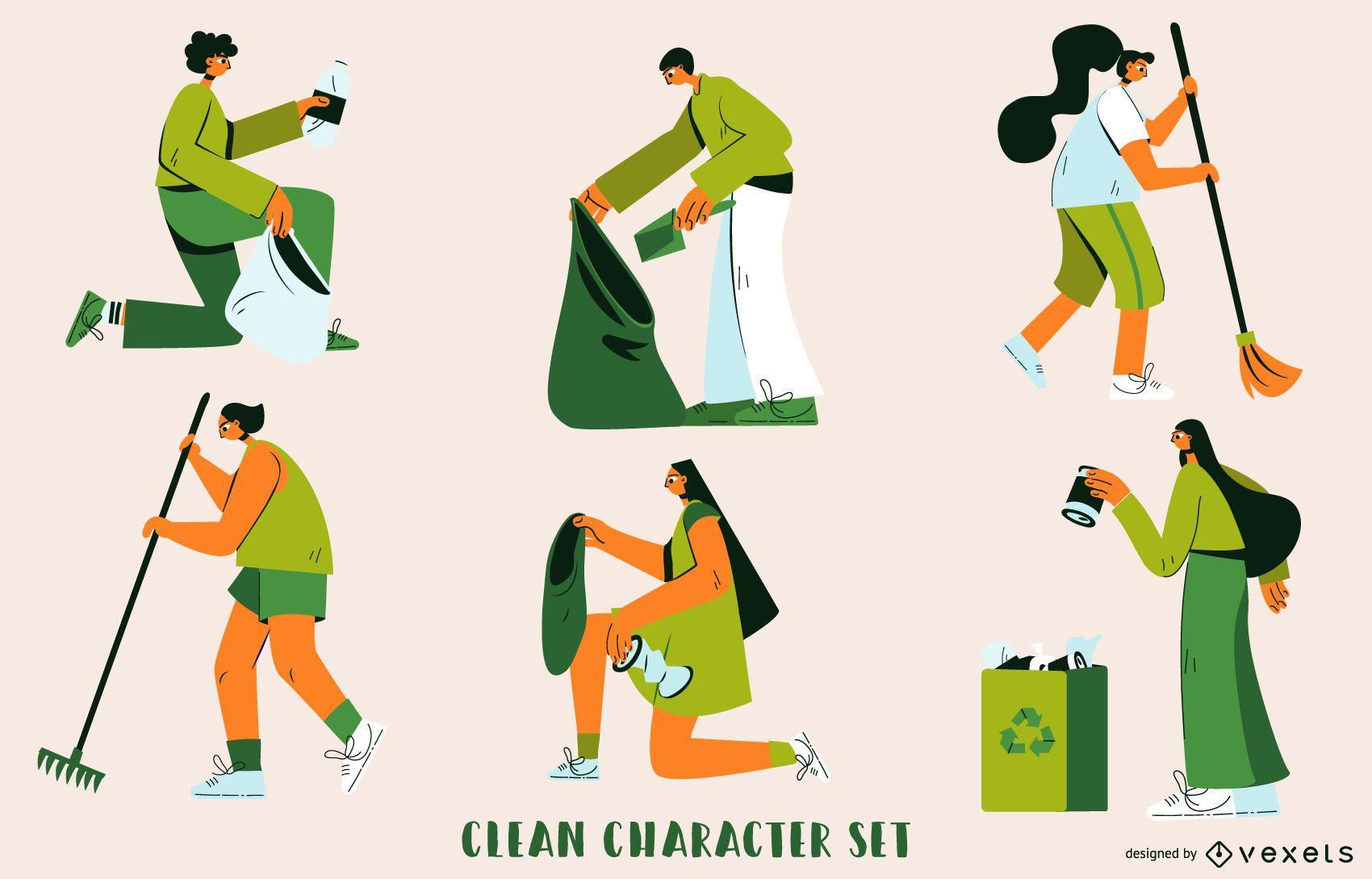 Conjunto de caracteres de limpieza