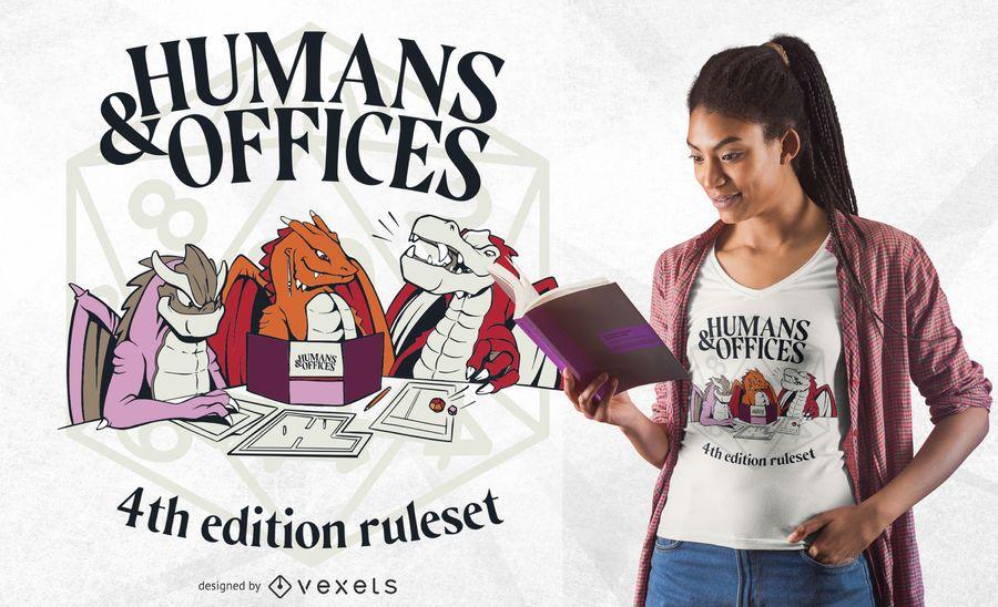 Design de t-shirt de seres humanos e escritórios