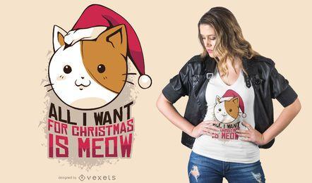 Diseño de camiseta de navidad miau