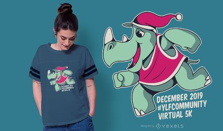 Xmas rhino t-shirt design