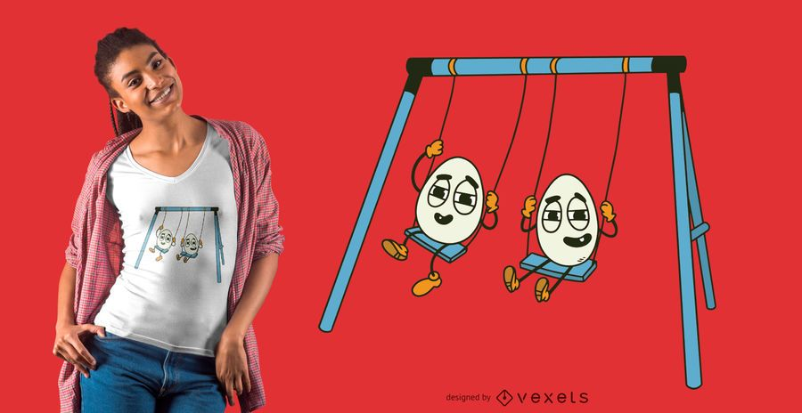 Eggs on swing t-shirt design