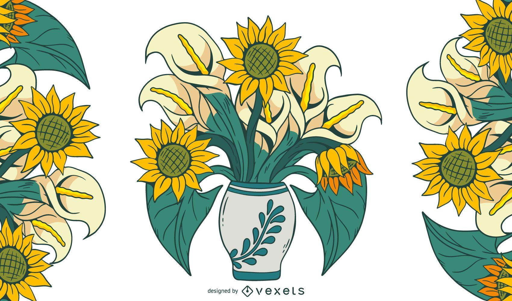 Sunflower arrangement illustration