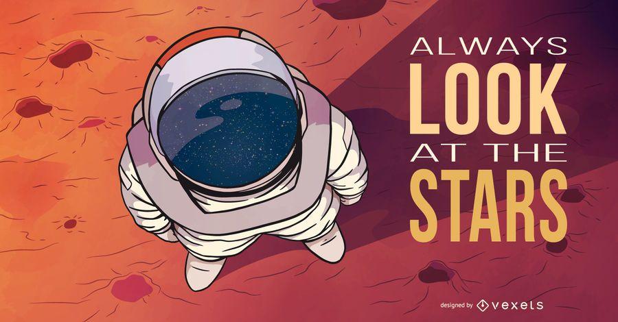 Astronaut stars illustration