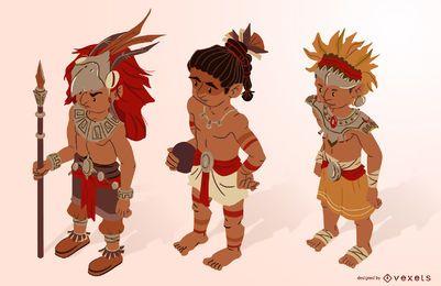 Aztec characters isometric set