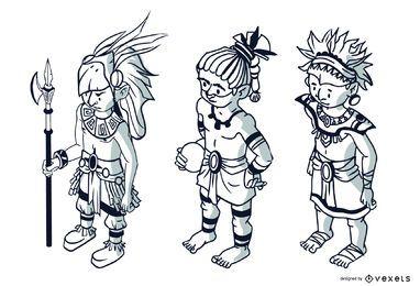 Conjunto de trazos de personajes aztecas