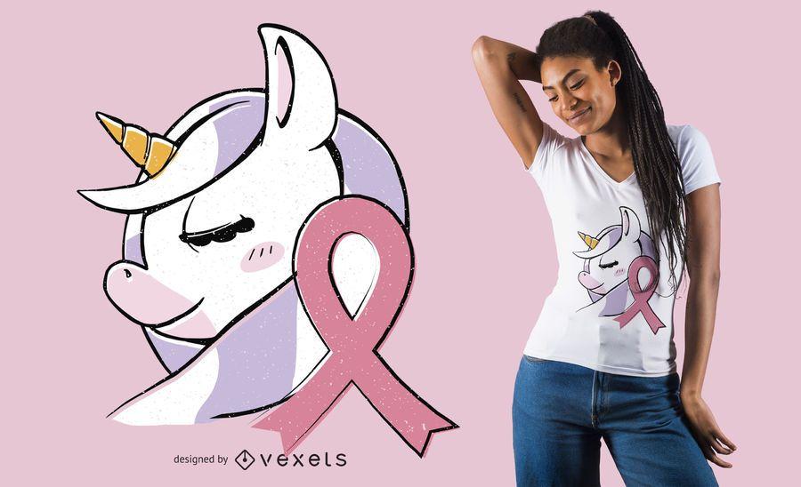 Diseño de camiseta de cáncer de mama unicornio