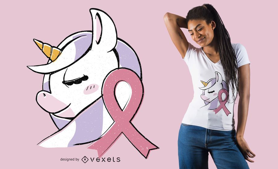 Einhorn Brustkrebs T-Shirt Design