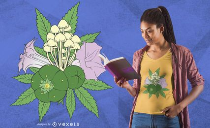 Design de t-shirt de plantas psicoativas