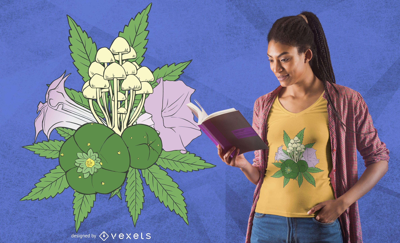 Diseño de camiseta de plantas psicoactivas.