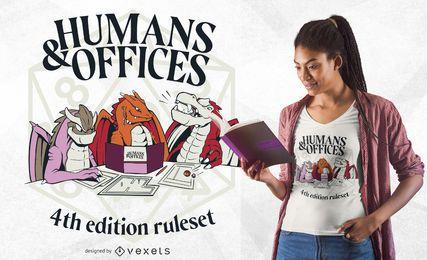 Diseño de camiseta de humanos y oficinas